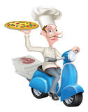 Pizza Delivery Chef on Moped. A cartoon chef from a pizzeria delivering pizza on his moped Stock Photo