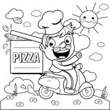 Pizza delivery chef in scooter. Coloring page. A cartoon pizza delivery man in chef uniform riding a scooter and delivering a pizza. Black and white coloring Royalty Free Stock Images