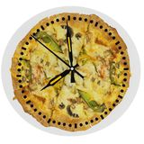Pizza delivery clock time hour  24h service. Pizza food delivery clock time hour  24h service royalty free stock photo