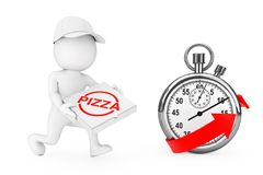 Pizza Delivery Concept. 3d Character Pizza Dealer with Pizza Box. In Hands Runs to Hurry to Deliver a Pizza near Stopwatch with Red Arrow on a white background Royalty Free Stock Photo