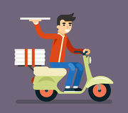 Pizza Delivery Courier Motorcycle Scooter Box Symbol Icon Concept  Stock Photo