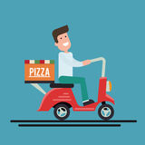 Pizza delivery courier on a scooter. Flat vector illustration. Royalty Free Stock Image