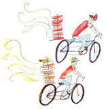 Pizza delivery cyclists watercolor painting on white background. Set of two pizza delivery cyclist on the bicycles with boxes of pizza - watercolor painting on royalty free illustration