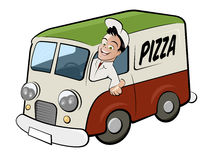 Pizza delivery driver in van. Cartoon illustration of pizza delivery driver in van with colors of Italian flag, white background Stock Image
