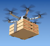 Pizza delivery in the drone Stock Image