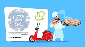 Pizza Delivery Emblem Concept Chef Cook Hold Box With Hot Dish Standing At Red Motor Bike Template Banner With Copy. Space Flat Vector Illustration Stock Images