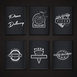 Pizza delivery. The food and service. Labels or Royalty Free Stock Photos