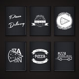 Pizza delivery. The food and service. Labels or Stock Images