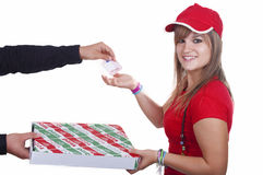 Pizza delivery girl Royalty Free Stock Image