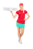 Pizza delivery girl holding boxes Royalty Free Stock Photo