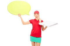 Pizza delivery girl holding a speech bubble Royalty Free Stock Photos