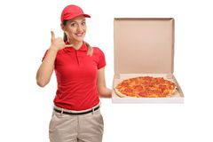 Pizza delivery girl making a call me gesture Royalty Free Stock Photos