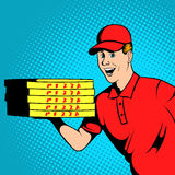 Pizza delivery guy comics Royalty Free Stock Photo