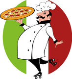 Pizza delivery guy. Funny chef in chef uniform on roller skates holding a pizza Royalty Free Stock Image