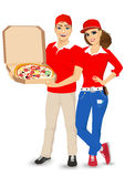 Pizza delivery guy and girl in red uniform Royalty Free Stock Image