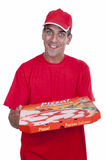 Pizza delivery guy in red. Isolated Stock Photos