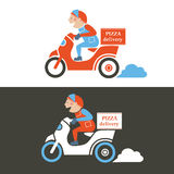 Pizza delivery guy on a scooter. Isolated vector Royalty Free Stock Photos
