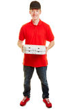 Pizza delivery guy with two pizzas Stock Image