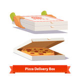 Pizza delivery. Handing a pizza boxes Stock Photography