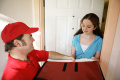 Pizza Delivery at Home Stock Photo