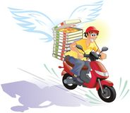 Pizza delivery hot and in time - friendly cartoon Royalty Free Stock Photo