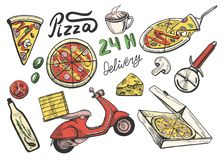 Pizza delivery icons set. Vector illustration of a pizza delivery set. Slice, full, round, 24 hours delivery, knife, box, oil, olive, tomato, and bike. Vintage Royalty Free Stock Photography