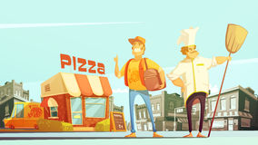 Pizza Delivery Illustration Stock Photos