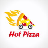 Pizza quickly delivering logo.  Stock Photo