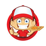 Pizza delivery man courier giving thumbs up in circle shape. Clipart picture of a pizza delivery man courier cartoon character giving thumbs up in circle shape Stock Photos