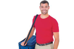 Pizza delivery man holding bag Stock Image