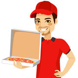 Pizza Delivery Man Holding Box Stock Photos