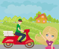 Pizza delivery man on a motorcycle Royalty Free Stock Photos