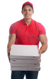 Pizza delivery man order delivering job young isolated Royalty Free Stock Photography