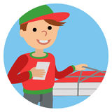 Pizza delivery man in uniform standing with box in his hands Stock Image