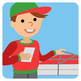 Pizza delivery man in uniform standing with box in his hands Stock Photos