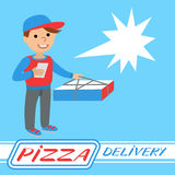 Pizza delivery man in uniform standing with box in his hands Stock Photo