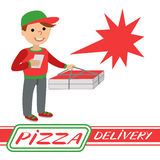 Pizza delivery man in uniform standing with box in his hands Royalty Free Stock Photos