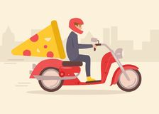 Pizza delivery on a moped. Vector. Cartoon. Isolated art on white background. Flat Royalty Free Stock Photos