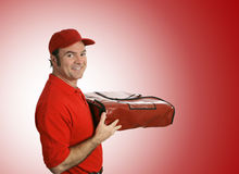 Pizza Delivery over Red Stock Photos