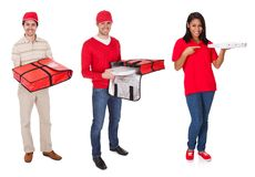 Pizza delivery people Royalty Free Stock Photos