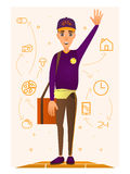 Pizza delivery person vector illustration in flat style. Vector illustration of delivery man with pizza box on shoulder and raised left hand. Pizza ingredients Royalty Free Stock Photos