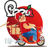 Pizza delivery piggy on  red scutter Stock Photo