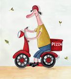 Pizza delivery service. Artistic work. Watercolors on paper Stock Photos