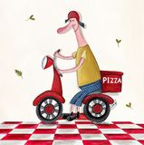 Pizza delivery service. Artistic work. Watercolors on paper Royalty Free Stock Photos