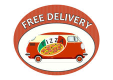 Pizza delivery sticker Royalty Free Stock Images