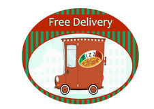 Pizza delivery sticker Royalty Free Stock Image