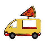 Pizza delivery truck fast food sketch Royalty Free Stock Photo
