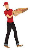 Pizza delivery. An a vector ilustration of pizza boy Stock Photos