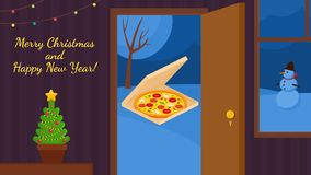 Pizza delivery Vector Merry Christmas and Happy New Year background. stock illustration