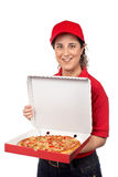 Pizza delivery woman Royalty Free Stock Images